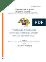 Informe Integrales de Superficie, Stokes & Divergencia