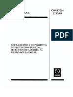 Norma COVENIN 2237-89. Ropa,equipos y dispositivos de protección personal