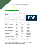 TALLER DE PARAMETROS REPRODUCTIVOS Y PRODUCTIVOS