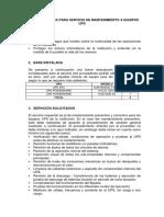 ESPECIFICACIONES PARA SERVICIO DE MANTENIMIENTO A EQUIPOS UPS