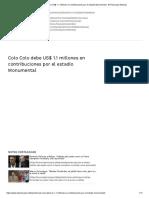 Colo Colo debe US$ 1.1 millones en contribuciones por el estadio Monumental - El Periscopio Noticias