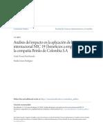 Análisis del impacto en la aplicación de la norma internacional NIC 19 (beneficios a empleados) en la compañía Brinks de Colombia S.A
