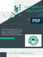 BASIC GUIDE TO MAKE A GOOD CV