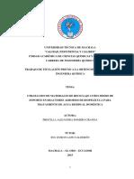 Utilización de materiales reciclabes en reactor de biopelicula aerobio para el tto de agua residual domestica (tesis)