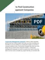 Construction Project Management Companies