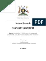 Uganda national budget speech (FY 2020/21)