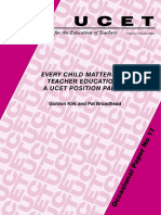 Every Child Matters and Teacher Education · a UCET Position Paper