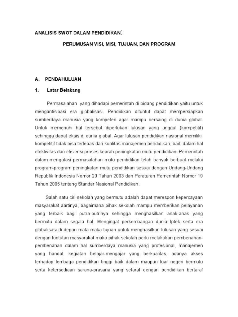 Doc Makalah Tentang Analisis Swot Di Sekolah Tomi Irvan Academia Edu