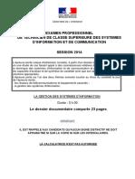 Sujet épreuve écrite Gestion systèmes information - session 2014