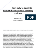 Directors Duties to creditors