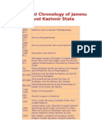 Historical Chronology of Jammu and Kashmir State