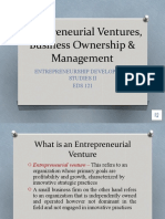 Entrepreneurial Venture, Business Ownership and Management
