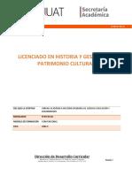 LICENCIADO EN HISTORIA Y GESTION DEL PATRIMONIO CULTURAL