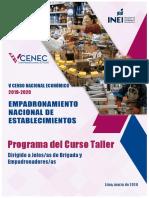 PROGRAMA DEL CURSO TALLER DIRIGIDO A JEFES DE BRIGADA Y EMPADRONADORES