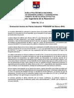 Taller 11a Evaluación planta POISSON Banco BHU