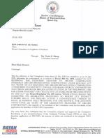 Makabayan bloc letter to House legislative franchise panel