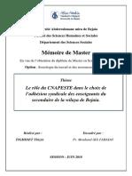 Le rôle du CNAPESTE dans le choix de l'adhésion syndicale des enseignants du secondaire de la wilaya de Bejaia