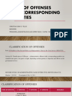 TYPES OF OFFENSES AND CORRESPONDING PENALTIES