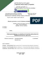 Etude Phytochimique Et Evaluation de l'Activité Antioxydante de Romarin (Rosmarinus Officinalis)