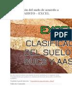 Clasificación Del Suelo de Acuerdo a SUCS y AAHSTO