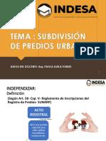 SUBDIVISION DE PREDIOS URBANOS