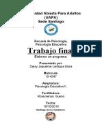 PSICOLOGIA EDUCATIVA II. TRABAJO FINAL.