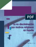 La no discriminación por motivos religiosos en España
