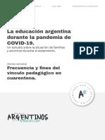 Frecuencia y fines del vínculo pedagógico en cuarentena