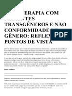 PSICOTERAPIA COM PACIENTES TRANSGÊNEROS E NÃO CONFORMIDADE DE GÊNERO