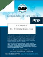 SMRP Metric 5.5.8 Overtime Maintenance Hours