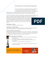 Personality and Perspectives of Personality Development
