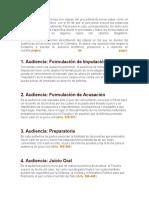 En Colombia las audiencias son etapas del procedimiento penal vistas como un acto de naturaleza jurídica.docx