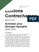 Musiques en création - Entretien avec Georges Aperghis - Éditions Contrechamps