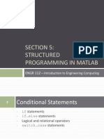 Section 5 Structured Programming in MATLAB