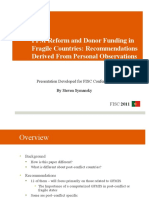 PFM Reform and Donor Funding in Post-Conflict