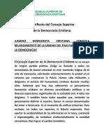 Unidad Demócrata Cristiana convoca relanzamiento de la unidad del país para rescatar la democracia (Manifiesto)