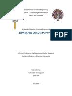 Chemical Engineering Seminars and Training Narrative Report