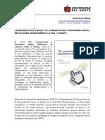 Nota de Prensa de Lanzamiento de E-book TIC, Comunicación y Periodismo Digital. Reflexiones desde América Latina y Europa