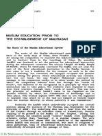 Muslim Education Prior to Madrassas