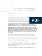 PALABRAS DE S.E. EL PRESIDENTE DE LA REPÚBLICA, SEBASTIÁN PIÑERA,