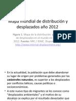 Mapa mundial de distribución y desplazados ambientales año 2012