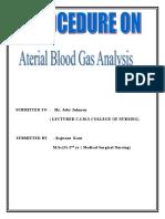Arterial Blood Gas Analysis PROCEDURE