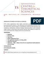 Graduate studies in Physical Sciences  _ ICTS