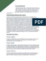ESTADOS DEL AGUA DEFINICION