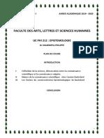 PHI 212  EPISTEMOLOGIE COMPLET AVEC PAGE DE GARDE