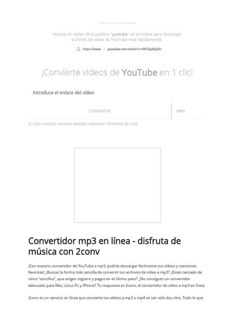 Conversor Y Descargador De Youtube A Mp3 Youtube Mp3