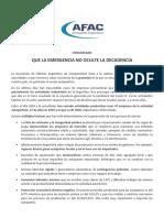 Comunicado AFAC Gravedad Sectorial Autopartes 07-2020