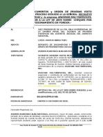 ORDEN DE PRUEBAS, Ley de Cheques, EL CALVO Vs. VANESSA MATOS