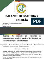 Balance de materia en sistemas no reaccionantes, sistemas multietapas y análisis grados de libertad