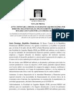 Junta Monetaria aprueba facilidad liquidez RD$60 mil millones para empresas y hogares.doc